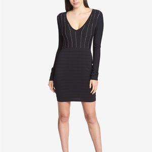 GUESS Studded Knit Bandage Dress Black